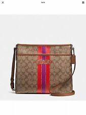 Coach F38402 Signature Stripe File Crossbody Bag Khaki/Watermelon