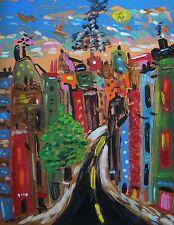 Original CITY Landscape NAIVE Raw American FOLK OUTSIDER Mary Carol art MCW