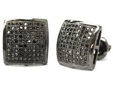 0.5 Ct.Black Lab Diamond Mens & Ladies Screw Back Square Stud Earrings 8mm