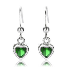Sale! Lady Gift Heart Cut Emerald White Gold Plated Gp Earring Stick Earing Gift