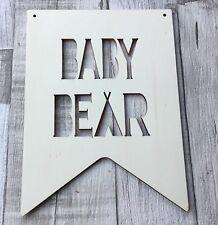 Large BABY BEAR teepee boho tribal unpainted laser cut quality wood plaque