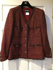 Chanel 11A NEW TWEED RED Gold Black JACKET BRAID TRIM GRIPOIX BUTTONS  FR42 $8K