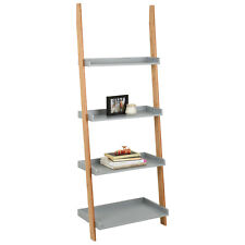 Hartleys Grey & Bamboo 4 Tier Modern Ladder Wall Shelf/Bookcase Display Rack