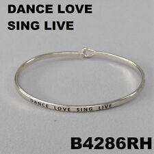 Live Message Engraved Brass Bangle Bracelet Elegant Silver Tone Dance Love Sing