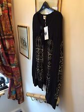 New Alice By Temperley Black & Metallic Gold Cape Knitted Poncho Cape,Small
