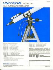"Vintage Telescope Sales Sheet: ""Unitron"" Model 150"