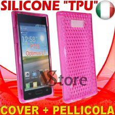 Cover Custodia Per LG Optimus L7 P700 Fucsia Gel Sicone TPU  + Pellicola Display