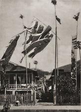 1929 OLD JAPAN Original Photo Gravure PAPER KOI FLAGS Carp Oragami Koinobori Art