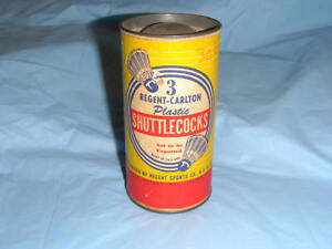 Vintage Regent-Carlton 3 Shuttlecocks w/ Original Can Badminton Birdies