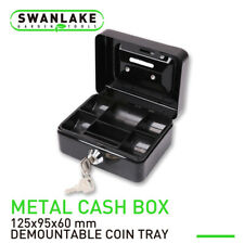 Metal Cash Box Security Safe With Money Tray Key Lock Small Gun Jewelry Storage