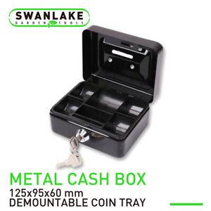 Metal Cash Box Security Safe With Money Tray Key Lock Small Gun Jewelry Storage