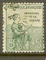 """FRANCE TIMBRE STAMP YVERT 149 """" ORPHELINS DE LA GUERRE 5c+5c VERT """" OBLITERE TB"""