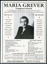 1948 Maria Grever photo Portilla Music vintage print ad