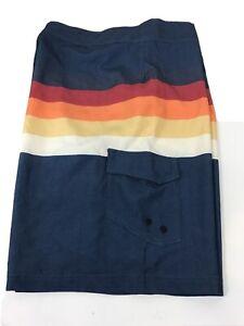 Swim Trunks True Craft Men's 40 x10 Blue with Red Orange and White Stripes Beach
