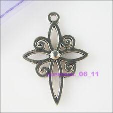 4Pcs Tibetan Silver Tone Hollow Cross Charms Pendants 20x28mm