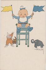 CARTE FANTAISIE Illustrée par André FOY-/BEBE/CHAISE HAUTE/CLOWN/ELEPHANT/CHAT