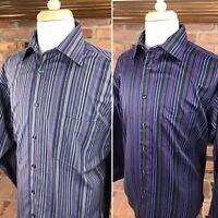 Pronto Uomo NON-IRON Long Sleeve Button-Front Shirts ~ Men's L / Violet Purple