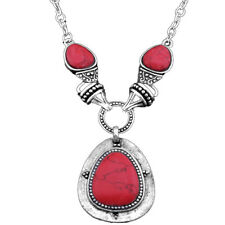 Drop Pendant Red Turquoise Necklace Vintage Look Anitque Silver Plated Jewelry