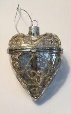 "NWT 3.5"" SILVER Scroll Glitter Mercury GLASS Hinged HEART Box CHRISTMAS Ornament"