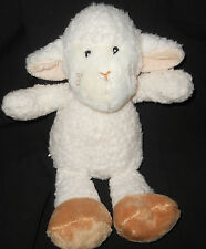 "Woolly Cream Baby Lamb Plush Stuffed Lovey 9"" Sewn Eye Dangle Leg Inter American"