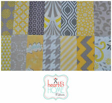 "Designer Fabric 5"" Squares Charm Pack, Yellow and Gray, 56 pieces, 100% cotton"