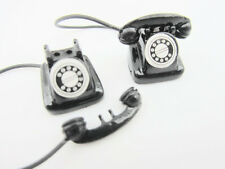 2pc Vintage Black Antique Telephone Miniature Doll House Decor Design/Phone M10