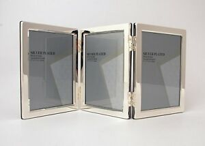 """Triple Silver Plated Metal Photo/Picture Frame 3.5x5"""" Heavy & Very Well Made!"""