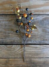 Fall Floral Picks Set of 2 Candy Corn & Berries Primitive Halloween Decor 12 in