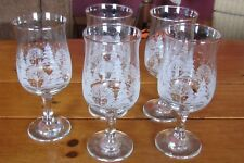5Arby's Christmas Winter White Frosted Trees Tulip Wine Glasses WithGold Rim