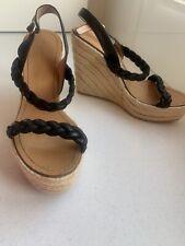 Sz 40 Sz 9 Witchery Black Leather Platform Sandals Heels Summer Wedges Strappy