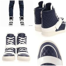 UltraRare&Great Balmain SS14 Navy Blue Quilted Leather High-Top-Trainers Sz 41