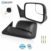 Power Heated Towing Mirrors Side Mirrors Pair Set For 98-01 Ram Truck W/Brackets