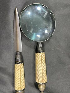 Unique Vintage Set Magnifying Glass And Letter Opener