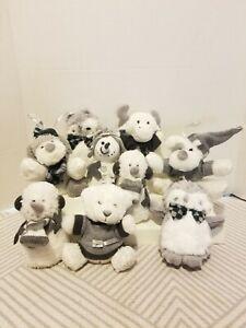 Christmas Ornaments Gray& White Plush Stuffed Animals Lot of 9 Owl Bear Moose #2