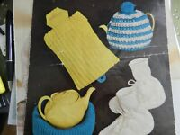 Knitting Pattern Hot Water Bottle Cover, Teapot Cosy and Nest, Bed Socks DK