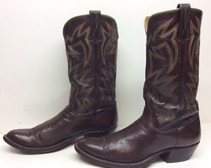 VTG MENS UNBRANDED COWBOY HANDMADE LEATHER BROWN BOOTS SIZE 9.5