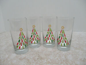 Set of 4 Libbey Christmas Tree Holiday Drinking Glasses Tumblers