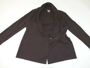 Ann Taylor Women's Wrap Sweater Medium Brown 100% Extra Fine Merino Wool M LS