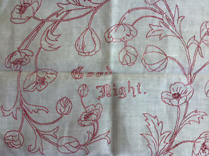 Antique Linen Red Work Embroidered Pillow Layover Sham GOOD NIGHT  Face Towel