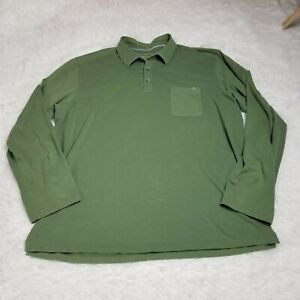 Tommy Bahama Mens Pima Cotton Blend Long Sleeve Polo Shirt Large L Light Brown