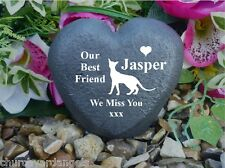 Cat Memorial Heart - Stone Effect - Personalised - Siamese Cat Design