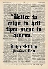 Better to Reign in Hell Milton Dictionary Art Print, Quote Vintage Paradise lost