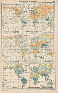 1931 MAP ~ THE WORLD RAINFALL ~JANUARY & JULY MEAN ANNUAL WIND DIRECTION