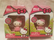 HELLO KITTY flocked figurines lot of 2 MIB Sanrio pink dress + overalls 2013 NEW