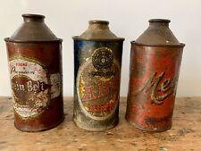 3 Vintage Cone Top Beer Cans Metz A. B. C. Grain Belt