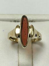 Unusual 9 Carat Yellow Gold CARNELIAN STYLE Set Ring