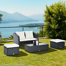 Outsunny 4pc Garden Rattan Furniture Sofa Footstool Table w/ Lift Up Top, Black