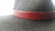 Western cowboy cowgirl red Python snake skin hatband hat band adjustable