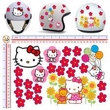 adesivi casco fiori hallo kitty sticker helmet flowers tuning decal 23 pz.