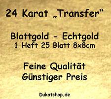 Blattgold 24 Karat Gold TRANSFER Heft 25 Blatt 8x8cm Blattmetall Vergolden